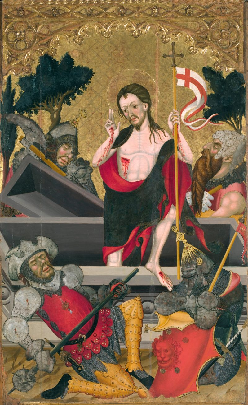 Resurrection of Christ, by Guerau Gener, c. 1407-11. Museu Nacional d'Art de Catalunya, Barcelona, Spain. Via IllustratedPrayer.com