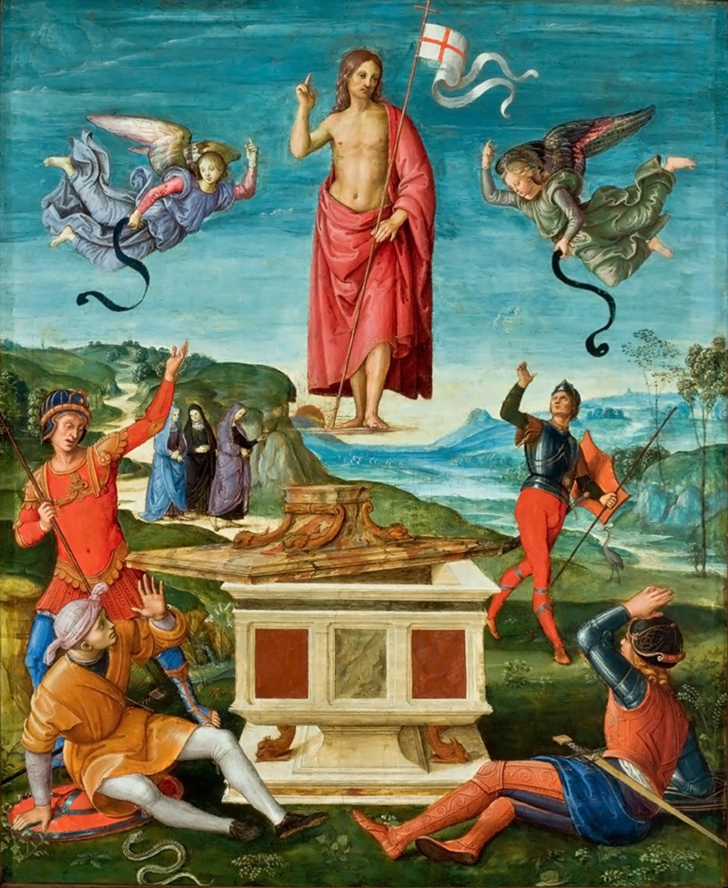 Resurrection of Christ, by Raphael (Raffaello Sanzio), c. 1499-1502. Sao Paulo Museum of Art, Sao Paulo, Brazil. Via IllustratedPrayer.com