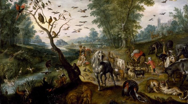 Noah's Family Assembling Animals before the Ark, by Jan van Kessel II, c. 1660. Walters Art Museum, Baltimore, Maryland, United States. Via IllustratedPrayer.com