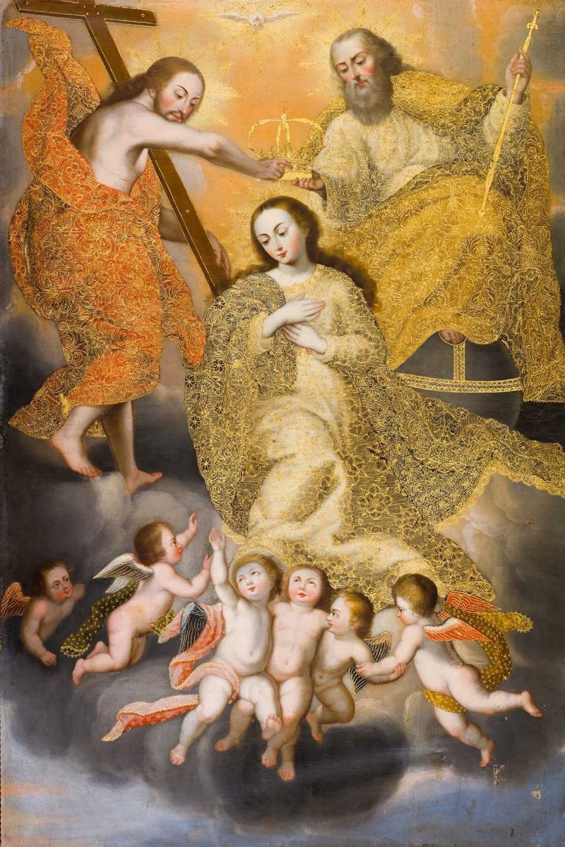 The Coronation of the Virgin, c. 18th century. Palacio Arzobispal, Cusco, Peru. Via IllustratedPrayer.com