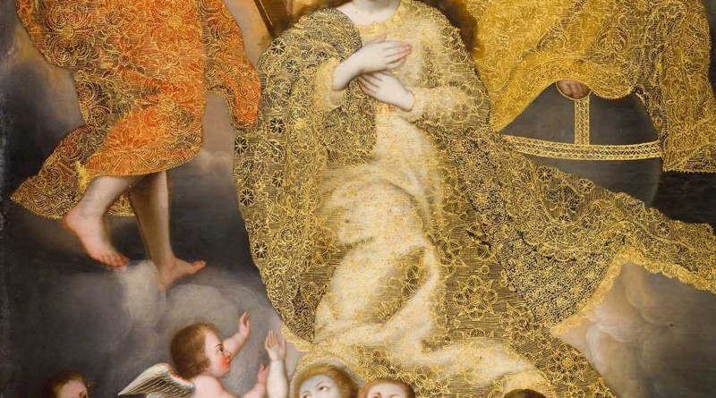 The Coronation of the Virgin, c. 18th century. Palacio Arzobispal, Cusco, Peru. Via IllustratedPrayer.com