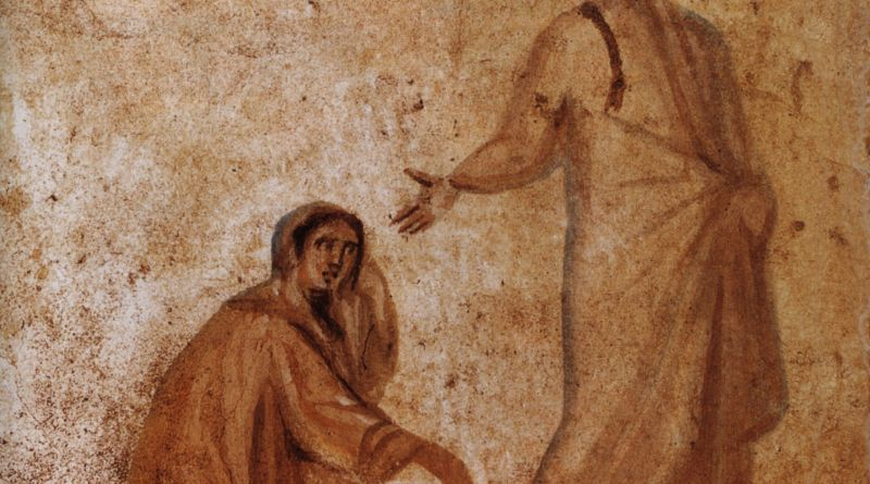 Healing of the Bleeding Woman, c. 4th century. Catacombs of Marcellinus and Peter, Rome, Italy. Via IllustratedPrayer.com