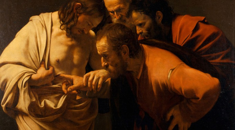 The Incredulity of St. Thomas, by Caravaggio, c. 1602. Sanssouci Picture Gallery, Potsdam, Germany. Via IllustratedPrayer.com