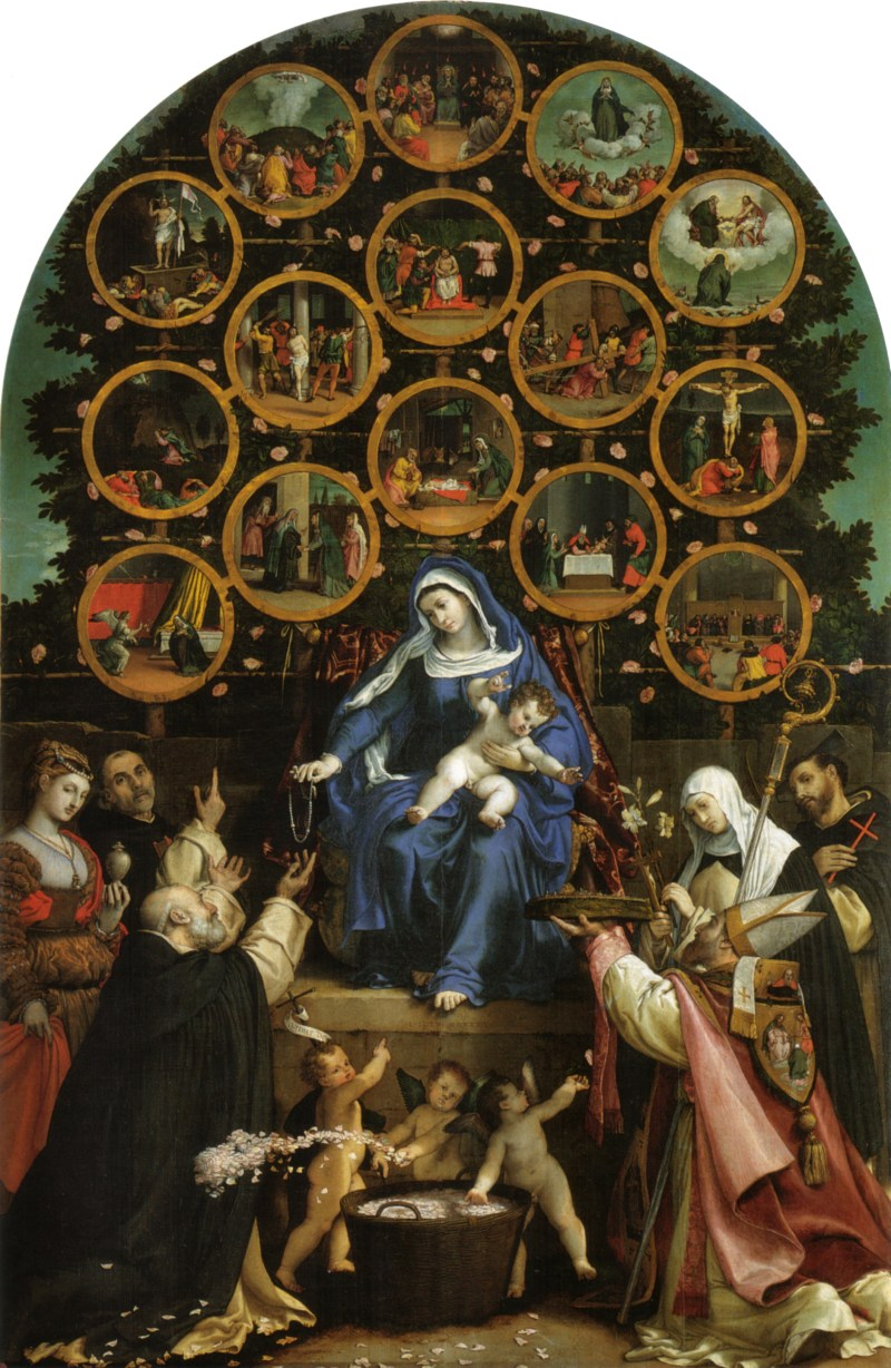 Madonna of the Rosary, by Lorenzo Lotto, c. 1539. Church of San Nicolo, Cingoli, Italy. Via IllustratedPrayer.com