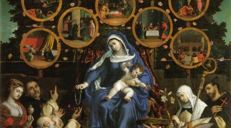Madonna of the Rosary, by Lorenzo Lotto, c. 1539. Church of San Nicolo, Cingoli, Italy. Via IllustratedPrayer.com