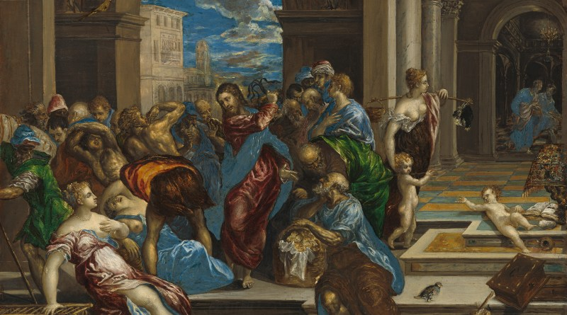 Christ Cleansing the Temple, by El Greco (Domenikos Theotokopoulos), c. 16th century. National Gallery of Art Museum, Washington, D.C., United States. Via IllustratedPrayer.com