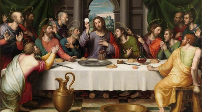 The Last Supper, by Juan de Juanes, c. 1555-62. Museo del Prado, Madrid, Spain. Via IllustratedPrayer.com