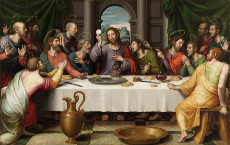 The Last Supper, by Juan de Juanes, c. 1555-62. Museo del Prado, Madrid, Spain. Via IllustratedPrayer.com