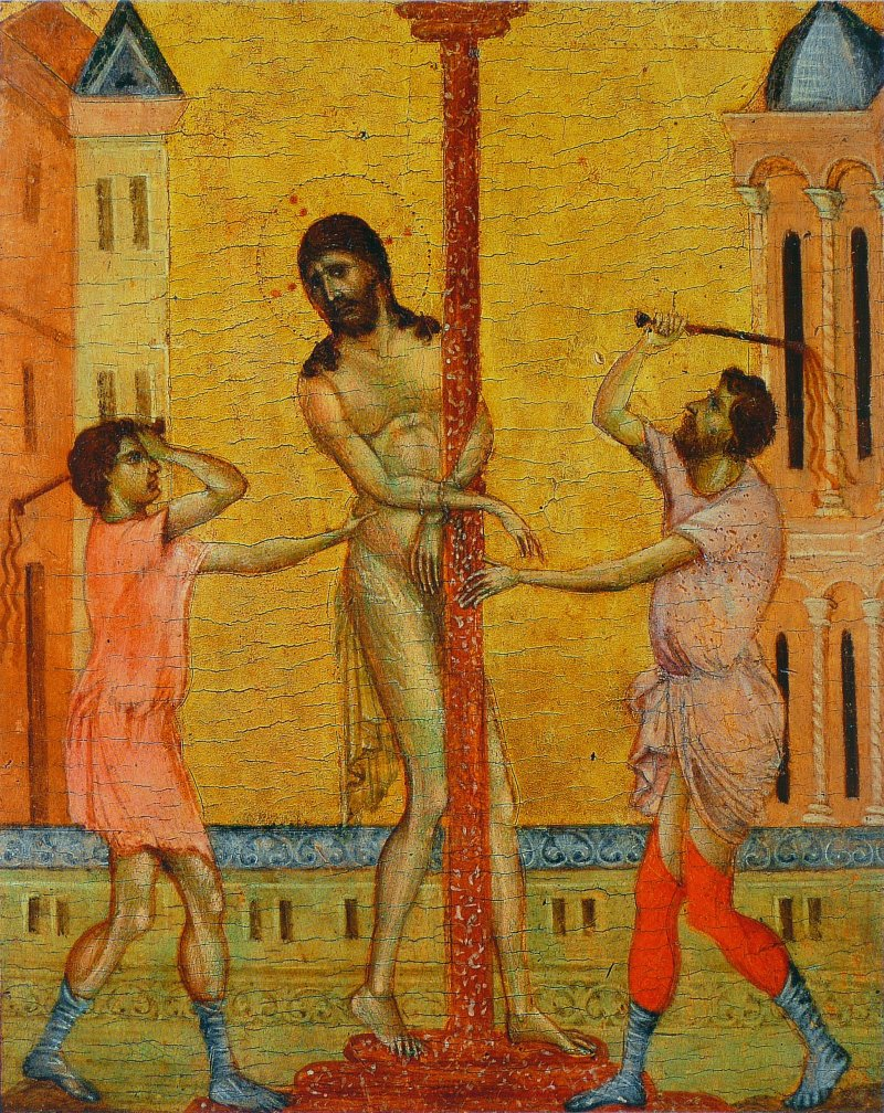 The Flagellation of Christ, by Cimabue, c. 1280. The Frick Collection, New York, New York, United States. Via IllustratedPrayer.com