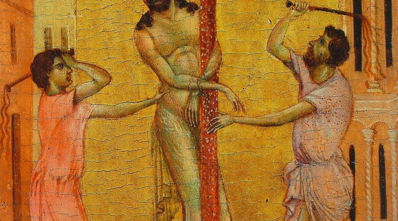 Flagellation, by Cimabue, c. 1280. The Frick Collection, New York, New York, United States. Via IllustratedPrayer.com