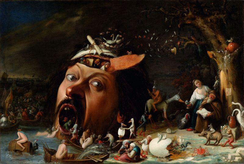 The Temptation of St. Anthony, by Joos van Craesbeeck, c. 1650.  Staatliche Kunsthalle Karlsruhe, Karlsruhe, Germany. Via IllustratedPrayer.com