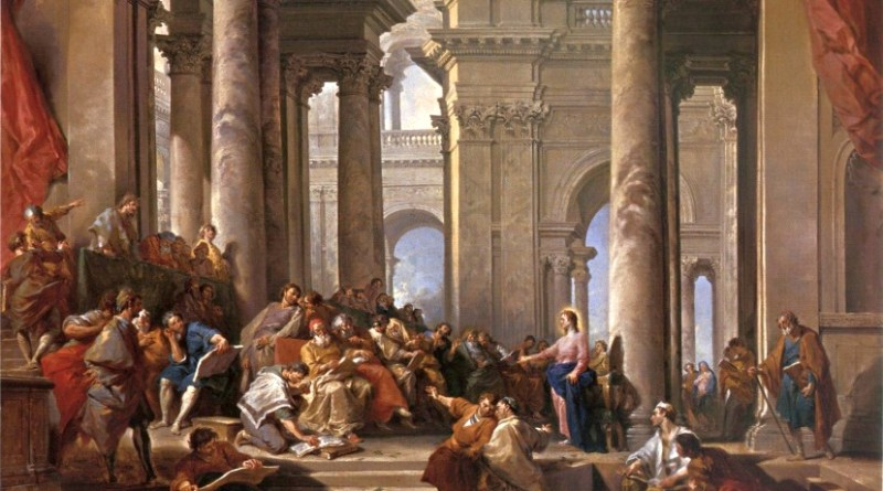 Christ Among the Doctors, by Giovanni Paolo Panini, c. 1743. National Museum in Warsaw, Warsaw, Poland. Via IllustratedPrayer.com