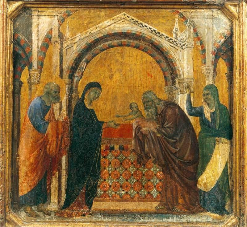 Presentation in the Temple, by Duccio di Buoninsegna, c. 1308-11. Museo dell'Opera del Duomo, Siena, Italy. Via IllustratedPrayer.com