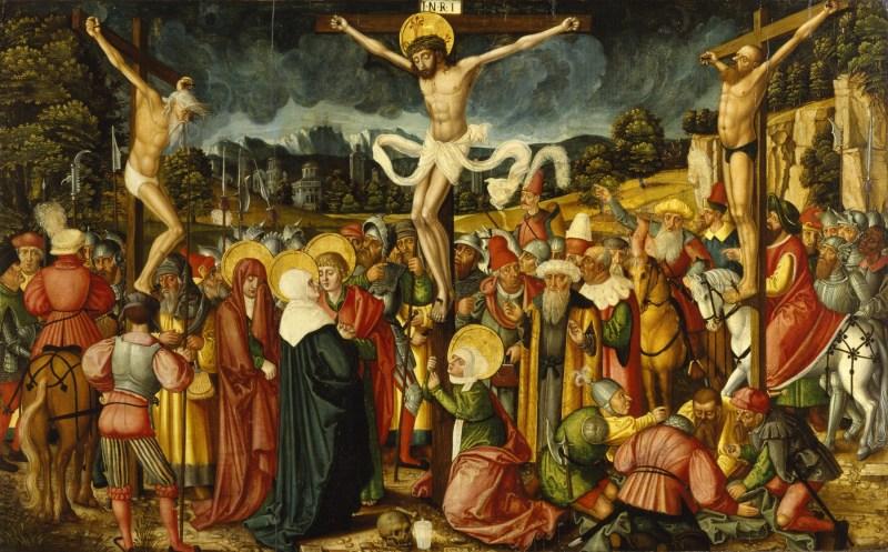 Crucifixion, by Peter Gertner, c. 1537. Walters Art Museum, Baltimore, Maryland, United States. Via IllustratedPrayer.com