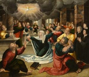 The Pentecost, by Follower of Bernard van Orley, c. 1530. North Carolina Museum of Art, Raleigh, North Carolina, United States. Via IllustratedPrayer.com