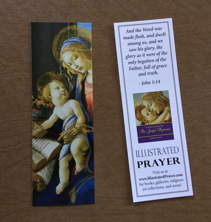Promotional Bookmark for Illustrated Rosary series. Via IllustratedPrayer.com