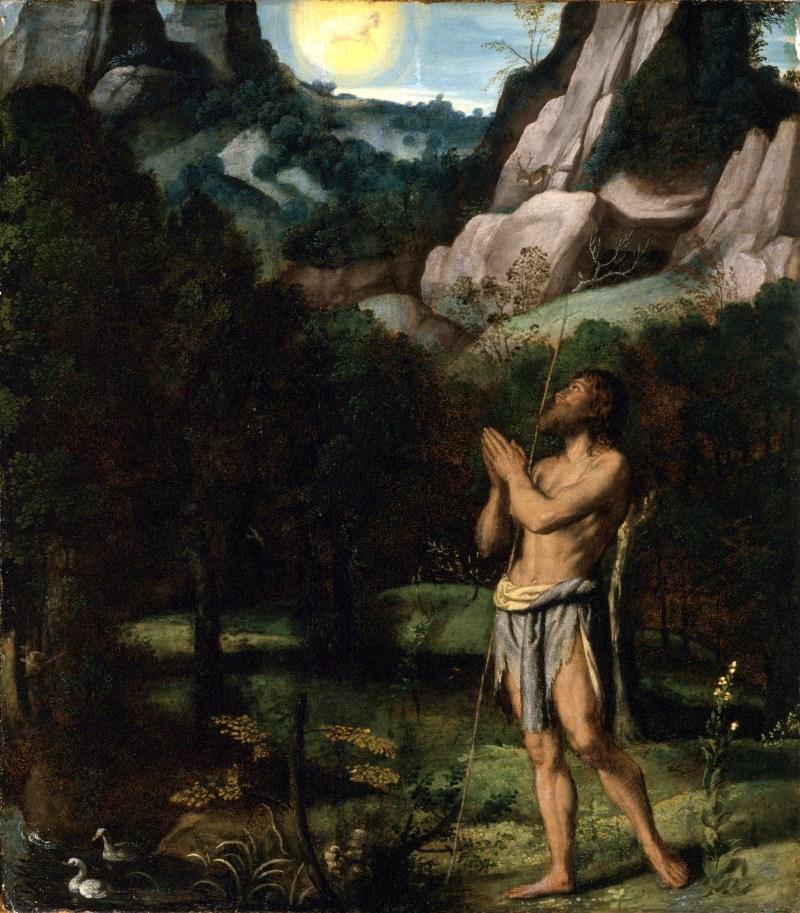 St. John the Baptist in the Wilderness, by Moretto da Brescia, c. 1535. Los Angeles County Museum of Art, Los Angeles, California, United States. Via IllustratedPrayer.com