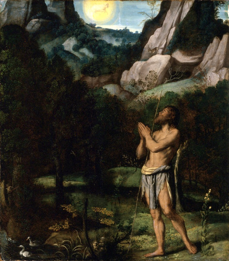 St. John the Baptist in the Wilderness, by Moretto da Brescia, c. 1535. Los Angeles County Museum of Art, Los Angeles, California, United States. Via IllustratedPrayer.com