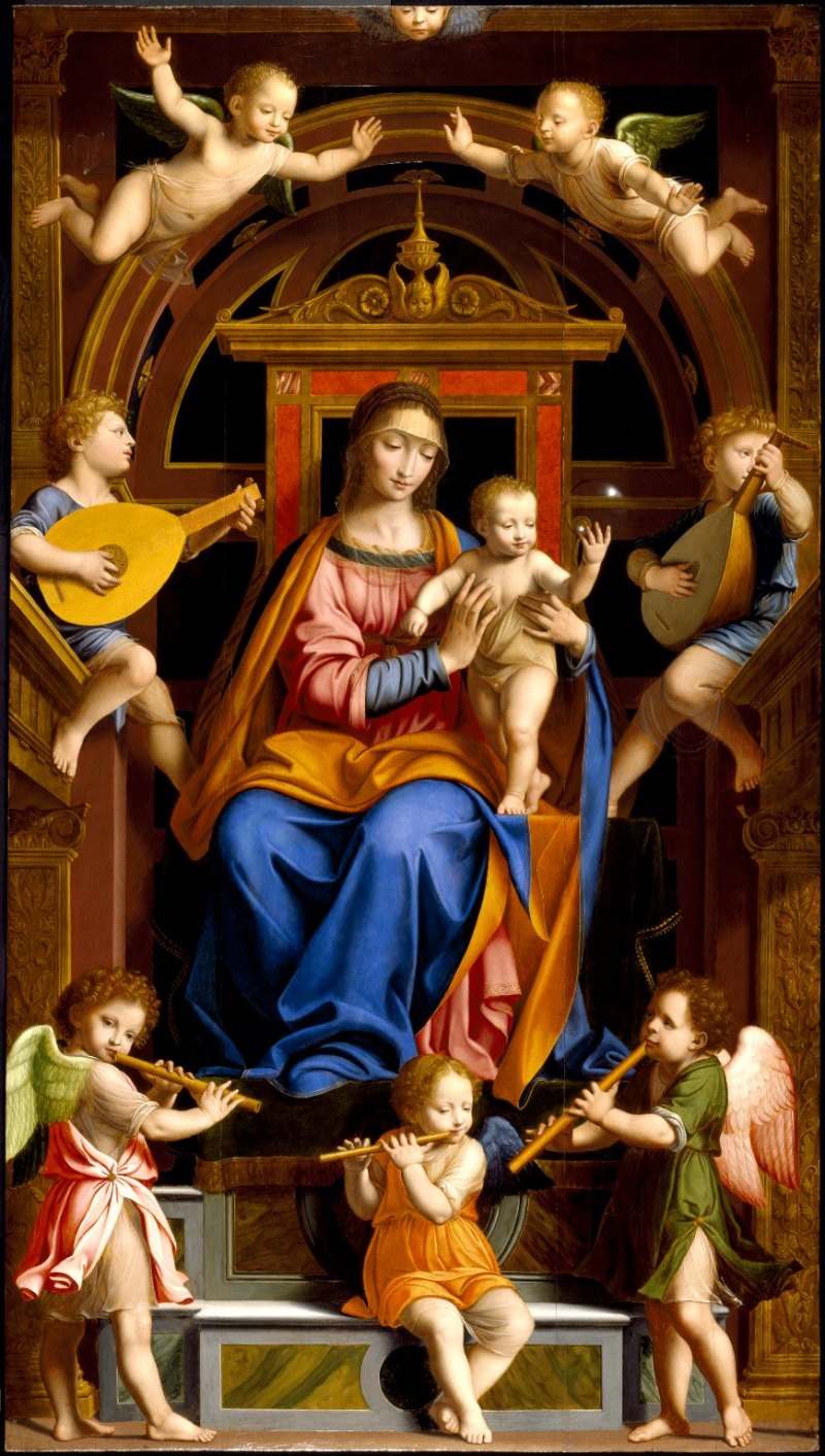 Madonna and Child Enthroned with Angels, by Bernardino Luini, c. 16th century. Brooklyn Museum, New York, New York, United States. Via IllustratedPrayer.com