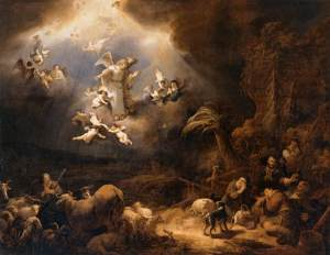 Angels Announcing the Birth of Christ to the Shepherds, by Govert Flinch, c. 1639. Louvre Museum, Paris, France. Via IllustratedPrayer.com