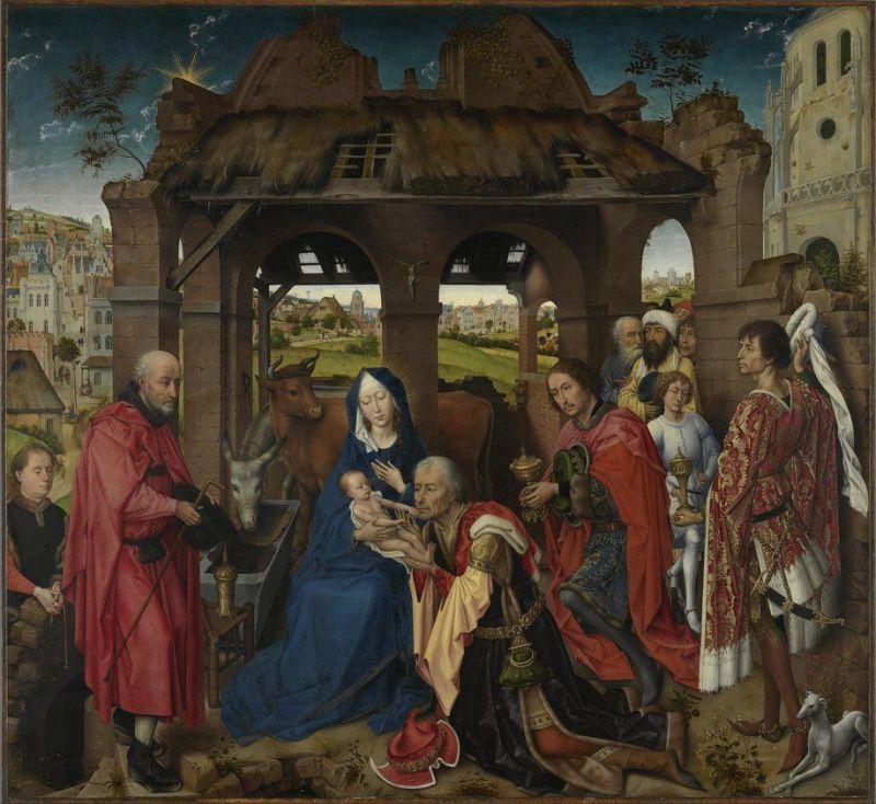 Adoration of the Magi, by Rogier van der Weyden, c. 1455. Alte Pinakothek, Munich, Germany. Via IllustratedPrayer.com