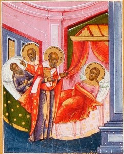 Detail of St. Nicholas the Wonderworker with Scenes From His Life, c. 1850s. Private collection. Via IllustratedPrayer.com