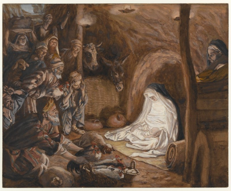 Adoration of the Shepherds, by James Tissot, c. 1886-94. Brooklyn Museum, New York, New York, United States. Via IllustratedPrayer.com