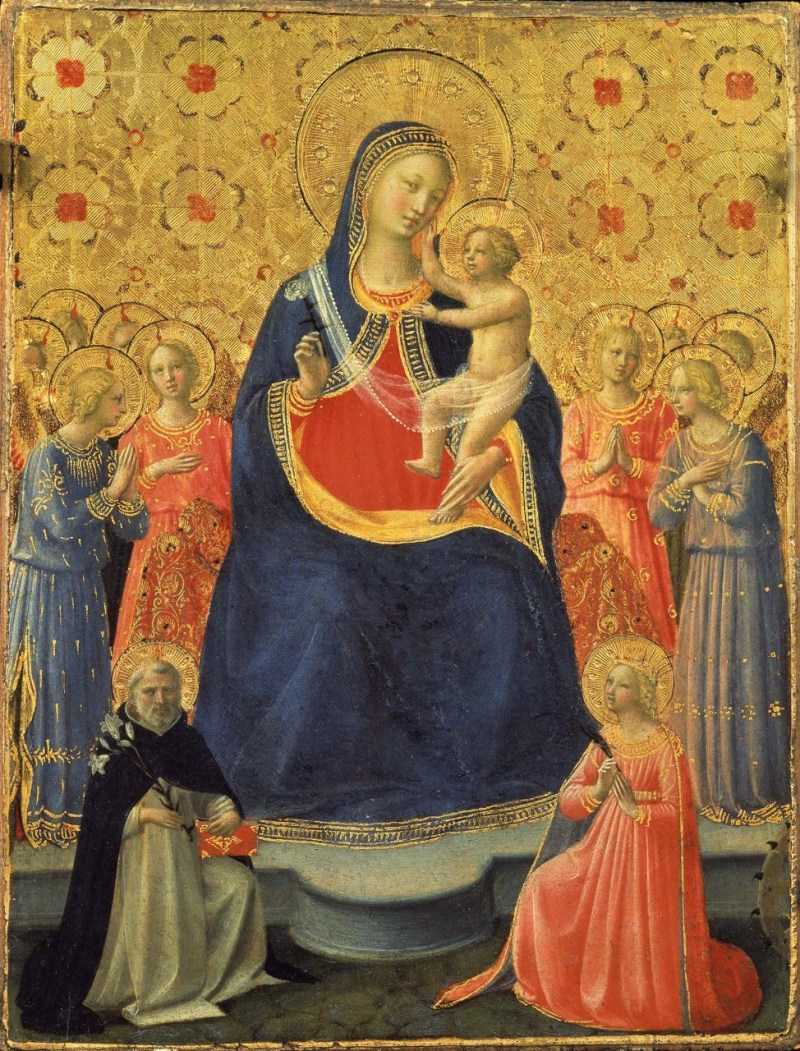 Madonna and Child between Sts Dominic and Catherine of Alexandria, by Fra Angelico, Musei Vaticani, Vatican City, Vatican City. Via IllustratedPrayer.com