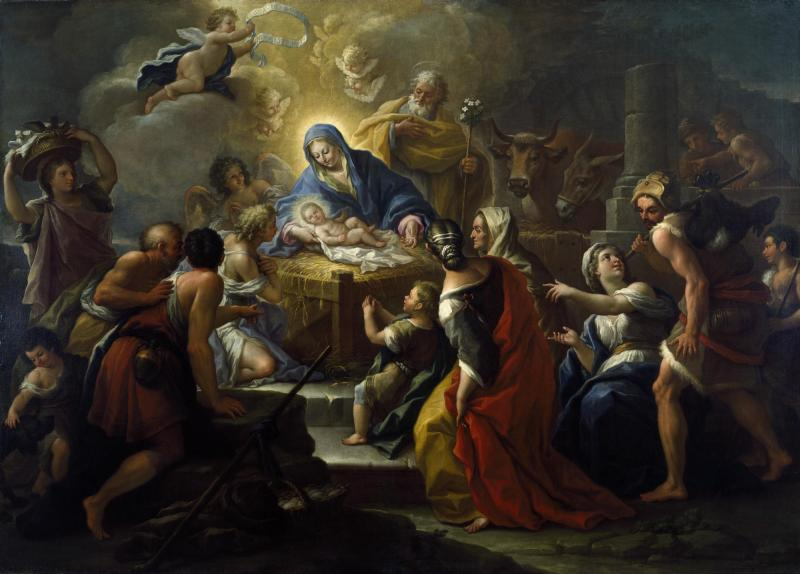 Adoration of the Shepherds, by Paolo de Matteis, c. 1680-1728. Dallas Museum of Art, Dallas, Texas, United States. Via IllustratedPrayer.com