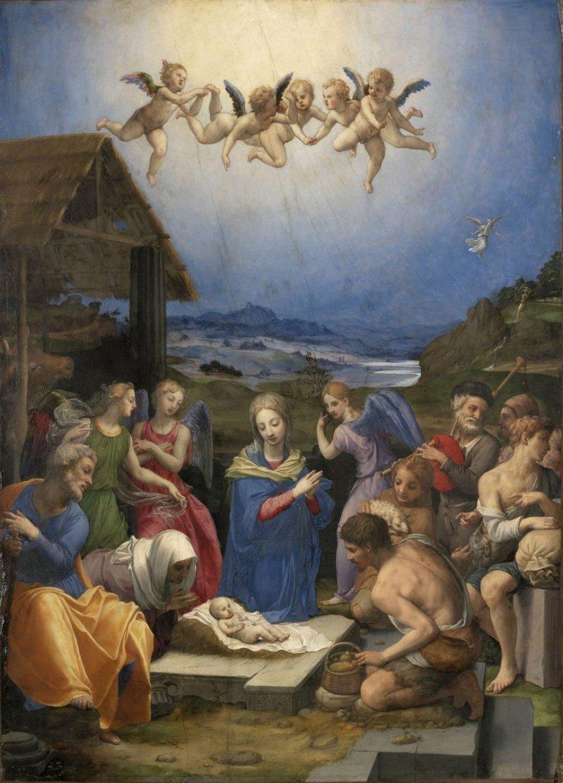 Adoration of the Shepherds, by Agnolo di Cosimo Bronzino, c. 16th century. Museum of Fine Arts, Budapest, Hungary. Via IllustratedPrayer.com