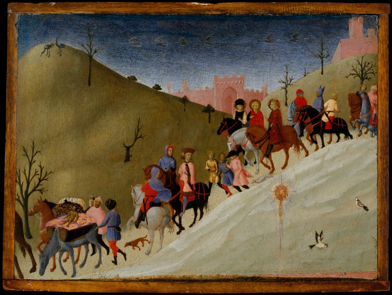 The Journey of the Magi, by Sassetta, c. 1433-35. Metropolitan Museum of Art, New York, New York, United States. Via IllustratedPrayer.com
