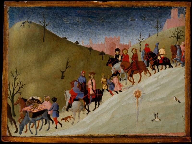 The Journey of the Magi, by Sassetta, c. 1433-35. Metropolitan Museum of Art, New York, New York, United States. Via IllustratedPrayer.com