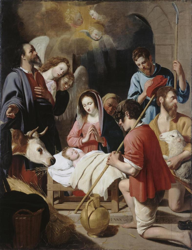 Adoration of the Shepherds, by Jacob van Oost I, c. 1630. State Hermitage Museum, St. Petersburg, Russia. Via IllustratedPrayer.com
