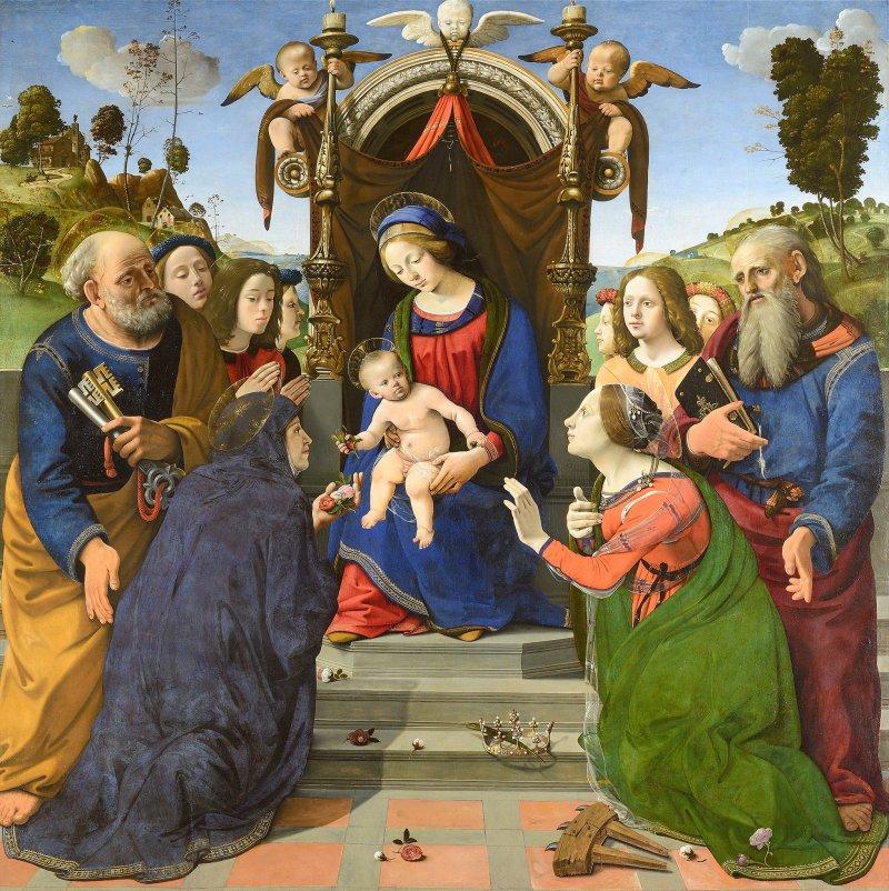 Madonna and Child Enthroned with Saints, Piero di Cosimo, c. 1493. Museo degli Innocenti, Florence, Italy. Via IllustratedPrayer.com