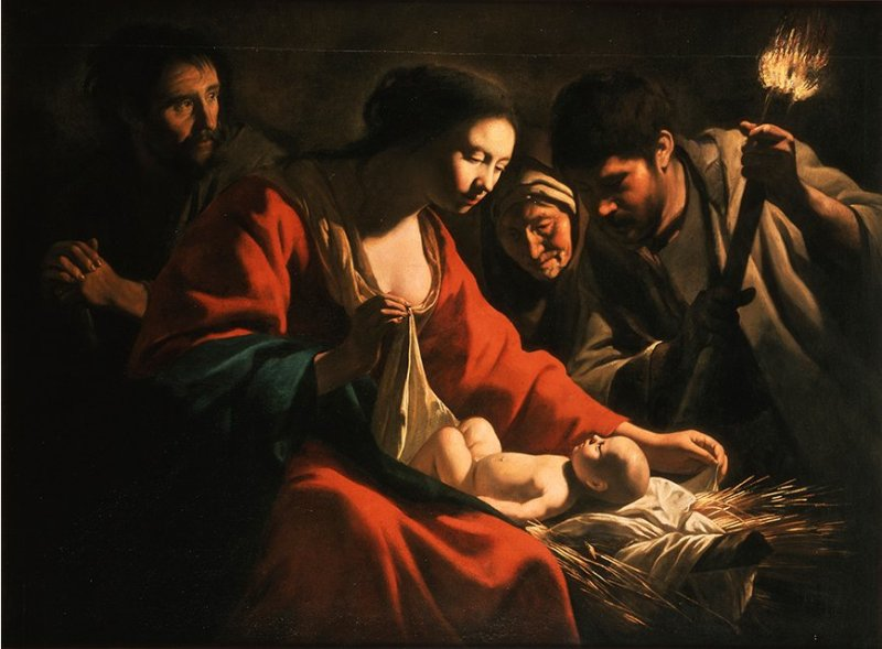 Nativity with a Torch, by the Le Nain Brothers, c. 1635-40. Private collection. Via IllustratedPrayer.com