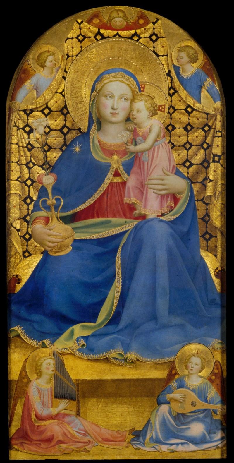 Madonna of Humility, by Fra Angelico, c. 1433-35. Museu Nacional d'Art de Catalunya, Barcelona, Spain. Via IllustratedPrayer.com