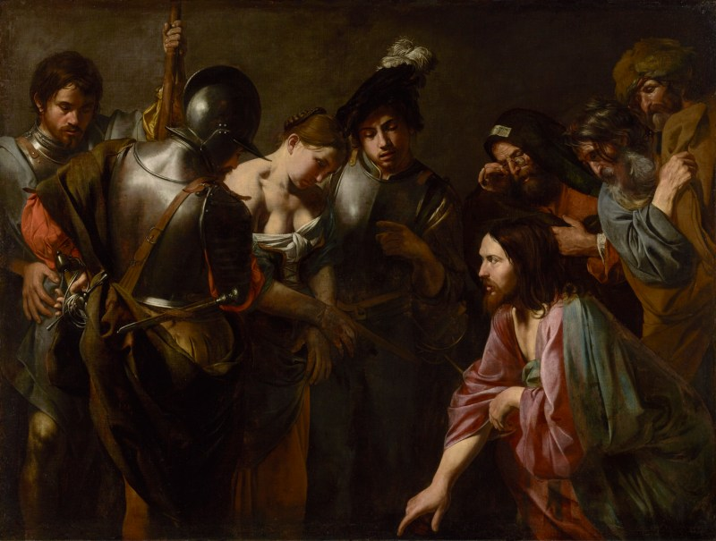Christ and the Adulteress, by  Valentin de Boulogne, c. 1620s. J. Paul Getty Center, Los Angeles, California, United States. Via IllustratedPrayer.com