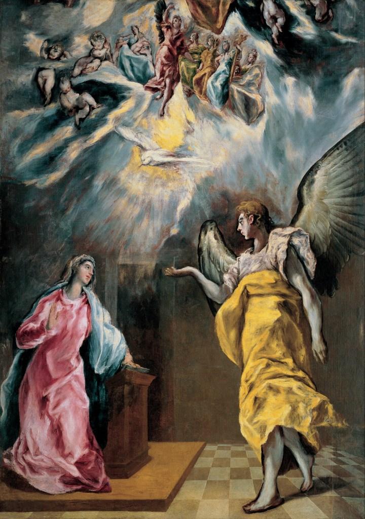 The Annunciation, by El Greco (Domenikos Theotokópoulos), c. 1614. Fundación Banco Santander, Madrid, Spain. Via IllustratedPrayer.com