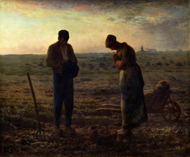 The Angelus, by Jean-François Millet, c. 1857-59. Musée d'Orsay, Paris, France. Via IllustratedPrayer.com