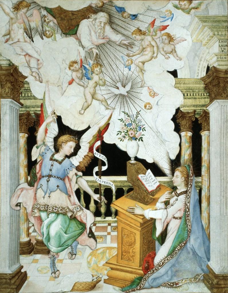The Annunciation, by Luis Lagarto, c. 1610. Museo Nacional de Arte, Mexico City, Mexico. Via IllustratedPrayer.com