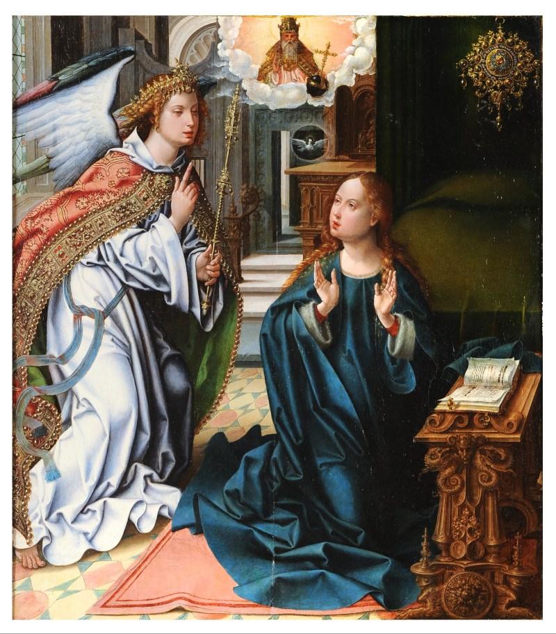 The Annunciation, by  Pieter Coecke van Aelst, c. 1525-28. Museo de Santa Cruz, Toledo, Spain. Via IllustratedPrayer.com