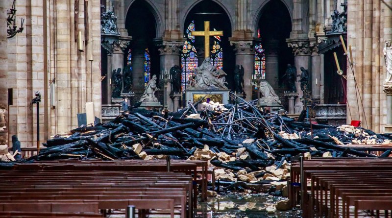 Wreckage in Notre Dame Cathedral. Photo by Christophe Petit Tesson, April 16, 2019. Via IllustratedPrayer.com