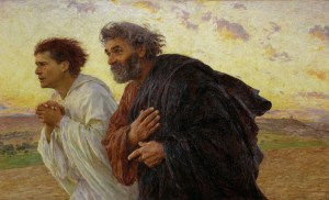 Peter and John Running to the Tomb, by Eugène Burnand, c. 1898. Musée d'Orsay, Paris, France. Via IllustratedPrayer.com