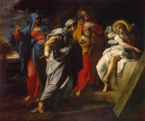 The Holy Women at Christ's Tomb, by Annibale Carracci, c. 16th century. State Hermitage Museum, St. Petersburg, Russia. Via IllustratedPrayer.com