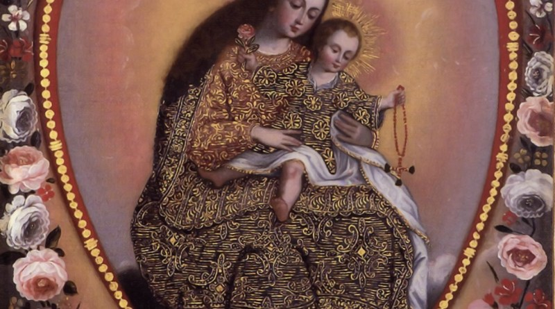 Immaculate Heart with Virgin of the Rosary, by Cusco School
