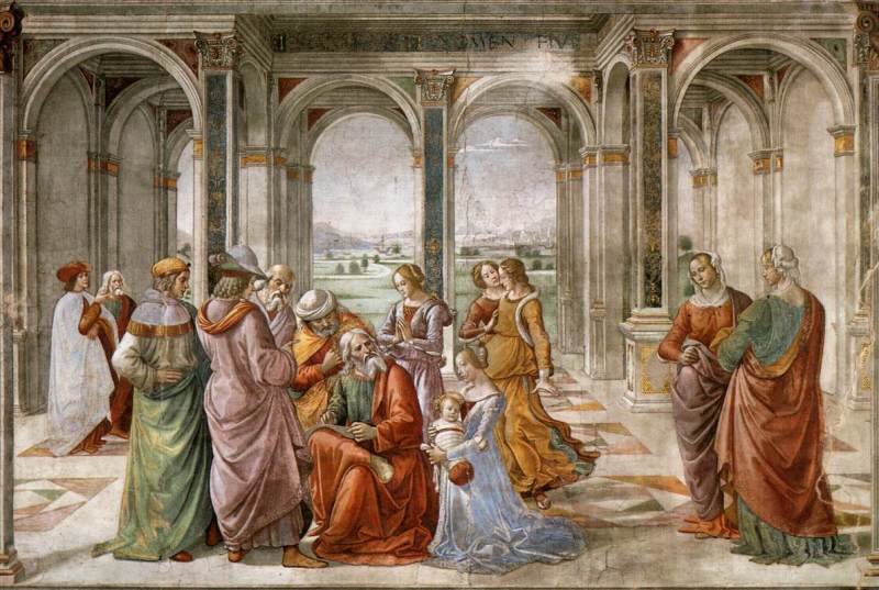 Zechariah Writes Down the Name of His Son, by Domenico Ghirlandaio, c. 1490. Tornabuoni Chapel, Florence, Italy.