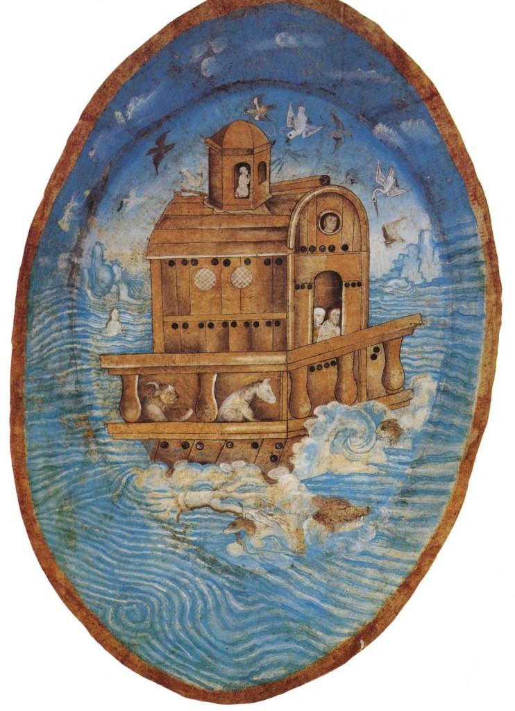 Noah's Ark Afloat, by Juan Gerson, c. 1562. Temple of the Franciscan Ex-Convent of La Asunción de Nuestra Señora, Tecamachalco, Puebla, Mexico.
