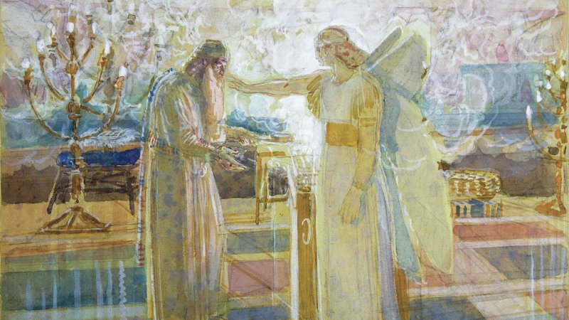 The Angel Appears to Zacharias, by Alexander Ivanov, c. 1850s. Tretyakov Gallery, Moscow, Russia.