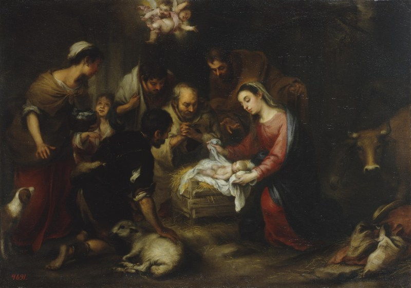 Adoration of the Shepherds, by Bartolomé Esteban Murillo, c. 17th century. State Hermitage Museum, St. Petersburg, Russia.