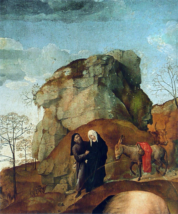 Detail from Portinari Altarpiece depicting the Journey of Bethlehem, by Hugo van der Goes, c. 1475–78. Galleria degli Uffizi, Florence, Italy.